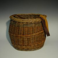 Deep basket with leather strap by Heike Kahle